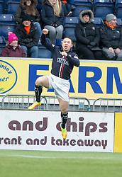 Falkirk's John Baird cele scoring their goal. half time : Falkirk 1 v 0 Dundee United, Scottish Championship game played 11/2/2017 at The Falkirk Stadium.