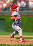 CHICAGO - 1991: Randy Myers #28 of the Cincinnati Reds pitches during an MLB game against the Chicago Cubs at Wrigley Field in Chicago, Illinois.  Myers pitched for the Reds from 1990-1991. (Photo by Ron Vesely)