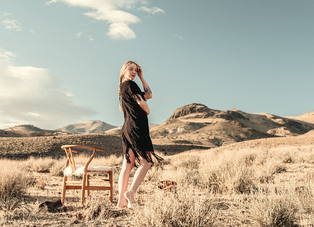 desert drip designs fall collection shot by phatsimo wenzel of wenzel haus in Nevada's high desert. woven fashion by the weaver Raegan young.
