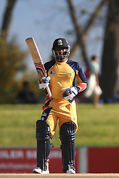 Mangaliso Mosehle of Gauteng after reaching his fifty during the Africa T20 cup pool D match between Boland and Gauteng held at the Boland Park cricket ground in Paarl on the 25th September 2016.<br /> <br /> Photo by: Shaun Roy/ RealTime Images