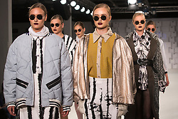 © Licensed to London News Pictures. 01/06/2014. London, England. Collection by Victoria Horden from the Manchester School of Art. Graduate Fashion Week 2014, Runway Show at the Old Truman Brewery in London, United Kingdom. Photo credit: Bettina Strenske/LNP