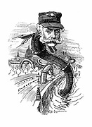 Joseph Bazalgette (1819-1891) English civil engineer; public health engineering; Metropolitan (London) main drainage system; Thames embankment. Cartoon in the Fancy Portraits series by Edward Linley Sambourne from 'Punch' London 1883 showing him rising out of the Thames with serpentine body made of pipe. Engraving
