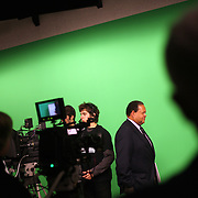 Rudy Crew, Oregon's first Chief Education Officer, tours the television studio at Sabin-Schellenberg Professional Technical Center.