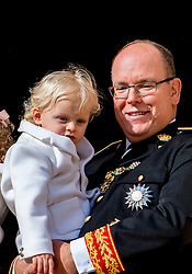 Prince Albert II of Monaco, Princess Charlene and their twins Princess Gabriella and Prince Jacques appear at a balcony of the Grimaldi Palace as part of the celebrations of the National Day of Monaco also known as The Sovereign Prince's Day, in Monaco on November 19, 2016. Photo by Robin Utrecht/ABACARESS.COM