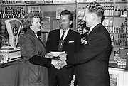 15/01/1963<br /> 01/15/1963<br /> 15 January 1963<br /> E. Buckley, Grocer, Orchard Road, Dublin, receives Bisto Award.<br /> Presentation of cheque to E. Buckley, Orchard Road, Dublin by Mr P.A. Ryan, Sales Manager, Cerebos (Ireland) Ltd. at Orchard Road. Included is Mr. J.J. McKinney, Sales Representative, Cerebos.