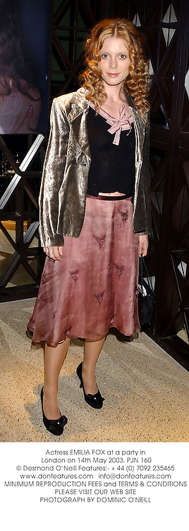 Actress EMILIA FOX at a party in London on 14th May 2003.PJN 160