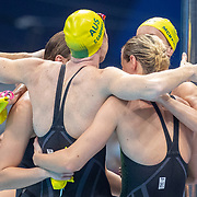 TOKYO, JAPAN - JULY 25: for the Australian team in the 4 x 100m Freestyle Relay for women during their gold medal world record performance during the Swimming Finals at the Tokyo Aquatic Centre at the Tokyo 2020 Summer Olympic Games on July 25, 2021 in Tokyo, Japan. (Photo by Tim Clayton/Corbis via Getty Images)