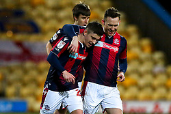 Declan John of Bolton Wanderers celebrates his sides second goal with Gethin Jones - Mandatory by-line: Ryan Crockett/JMP - 17/02/2021 - FOOTBALL - One Call Stadium - Mansfield, England - Mansfield Town v Bolton Wanderers - Sky Bet League Two