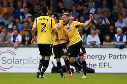 Josh Vela of Bolton Wanderers celebrates with Mark Davies and Lewis Buxton of Bolton Wanderers after scoring a goal against Bristol Rovers - Mandatory by-line: Robbie Stephenson/JMP - 17/08/2016 - FOOTBALL - Memorial Stadium - Bristol, England - Bristol Rovers v Bolton Wanderers - Sky Bet League One