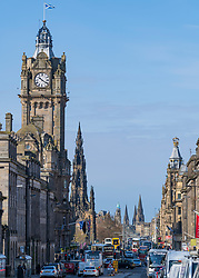 View of Princes Street and Balmoral Hotel clocktower in Edinburgh, Scotland ,UK