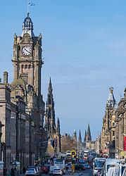 View of Princes Street and Balmoral Hotel clocktower in Edinburgh, Scotland ,UK