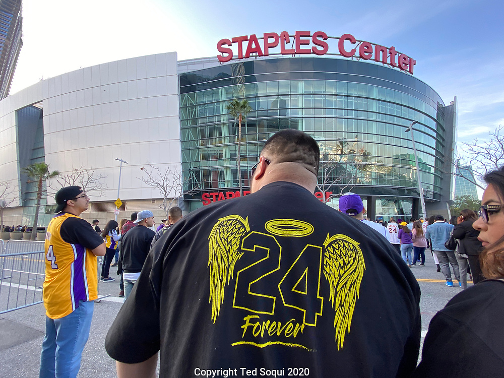 A Celebration of Life Memorial at Staples Center. Twenty thousand people attended the memorial event to honor L.A. Laker Kobe Bryant and 8 others who perished with him in a helicopter crash.<br /> 2/24/2020 Los Angeles, CA USA<br /> (Photo by Ted Soqui)