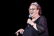 Jo Brand. The Peoples Assembly  presents: Stand Up Against Austerity. Live at the Hammersmith Apollo. London. © Andrew Aitchison / Peoples Assembly