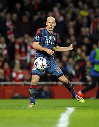 Bayern Munich's Arjen Robben sees his shot saved by Arsenal's Lukasz Fabianski - Photo mandatory by-line: Joe Meredith/JMP - Tel: Mobile: 07966 386802 19/02/2014 - SPORT - FOOTBALL - London - Emirates Stadium - Arsenal v Bayern Munich - Champions League - Last 16 - First Leg