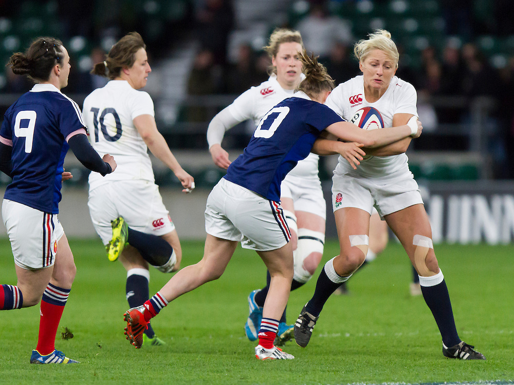 Ceri Large in action, England Women v France Women in the 6 Nations at Twickenham Stadium, Twickenham, England, on 21st March 2015