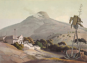 View of the Lions Head in Cape Town hand colored plate from the collection of  ' African scenery and animals ' by Daniell, Samuel, 1775-1811 and Daniell, William, 1769-1837 published 1804