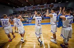 Players of Greece celebrate after the basketball match between National teams of Greece and Slovenia in the Group Phase C of FIBA U18 European Championship 2019, on July 29, 2019 in  Nea Ionia Hall, Volos, Greece. Photo by Vid Ponikvar / Sportida