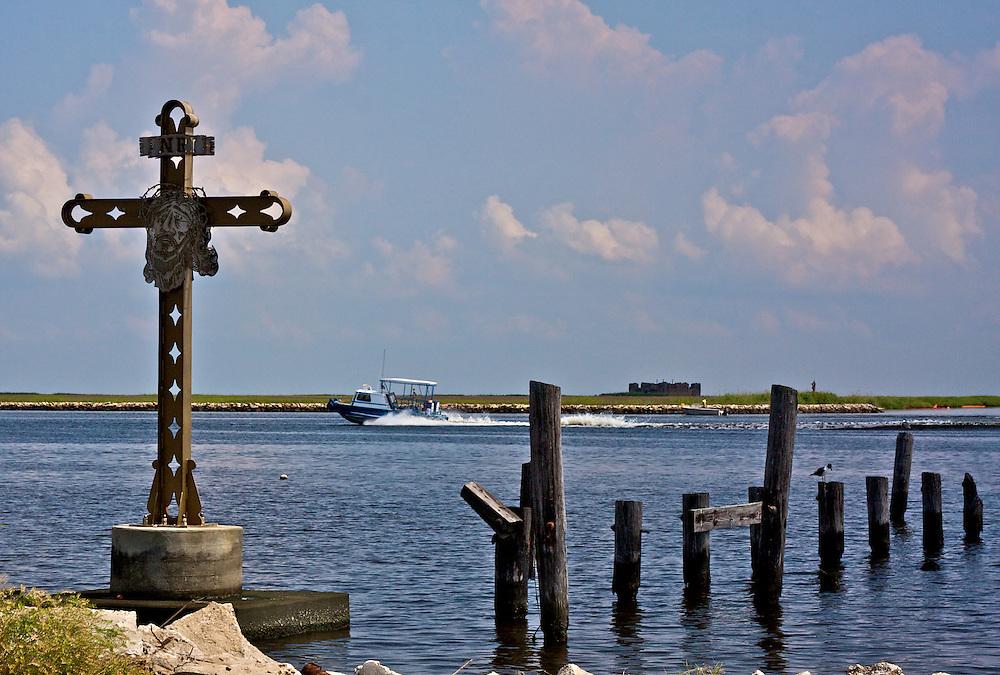 Memorial to victims of Hurricane Katrina, Fort Proctor, Shell Beach, St. Bernard Parish, Louisiana