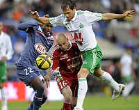 FOOTBALL - FRENCH CHAMPIONSHIP 2010/2011 - L1 - GIRONDINS BORDEAUX v AS SAINT ETIENNE - 24/04/2011 - PHOTO JEAN MARIE HERVIO/ DPPI - SYLVAIN MARCHAL / JEREMIE JANOT (ASSE) / ANTHONY MODESTE (GDB)