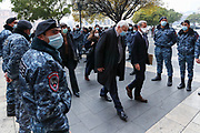 Co-Chair of Minks Group Mr Stéphane Visconti of France (R) and Personal Representative of the OSCE Chairperson-in-Office Andrzej Kasprzyk in Baku (L) walks through a corridor of Armenian policemen outside the government building in Yerevan, on Monday, Dec 14, 2020.<br /> Turkey has proposed the Minsk Group to hold a special meeting where the three co-chairs, France, Russia and the U.S. would report on what they have done to secure a negotiated settlement to the Nagorno-Karabakh problem. (VXP Photo/ Vudi Xhymshiti)