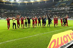 25.11.2017, Commerzbank Arena, Frankfurt, GER, 1. FBL, Eintracht Frankfurt vs Bayer 04 Leverkusen, 13. Runde, im Bild Leverkusener Spieler feiern den Sieg in Frankfurt // during the German Bundesliga 13th round match between Eintracht Frankfurt and Bayer 04 Leverkusen at the Commerzbank Arena in Frankfurt, Germany on 2017/11/25. EXPA Pictures © 2017, PhotoCredit: EXPA/ Eibner-Pressefoto/ Weiss<br /> <br /> *****ATTENTION - OUT of GER*****