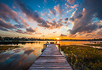 Sunset over McMeekin Lake in Hawthorne, Florida.