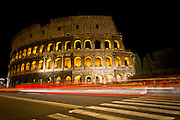 Night photography at the Colosseum in Rome.