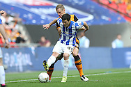 Fernando Forestieri of Sheffield Wednesday blocks the ball from Michael Dawson of Hull City. Skybet football league Championship play off final match, Hull city v Sheffield Wednesday at Wembley Stadium in London on Saturday 28th May 2016.<br /> pic by John Patrick Fletcher, Andrew Orchard sports photography.
