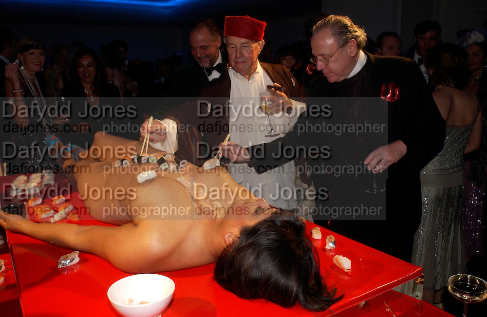 Sir Terence Conran. Andy & Patti Wong's Chinese New Year party to celebrate the year of the Rooster held at the Great Eastern Hotel, Liverpool Street, London.29th January 2005. The theme was a night of hedonism in 1920's Shanghai. . ONE TIME USE ONLY - DO NOT ARCHIVE  © Copyright Photograph by Dafydd Jones 66 Stockwell Park Rd. London SW9 0DA Tel 020 7733 0108 www.dafjones.com