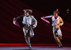 "© Licensed to London News Pictures. 21/03/2013. London, England. Ballet Flamenco de Andalucía perform ""Metáfora"" during the Flamenco Festival London 2013 at Sadler's Wells Theatre. Male dancers: Juan Carlos Cardoso, Ángel Fariña, Fernando Jiménez and Álvaro Paños. Photo credit: Bettina Strenske/LNP"