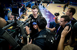 Goran Dragic of Slovenian National Basketball team with journalists after a training session ahead of the FIBA EuroBasket 2017 match between Slovenia and Poland at Hartwall Arena in Helsinki, Finland on August 30, 2017. Photo by Vid Ponikvar / Sportida