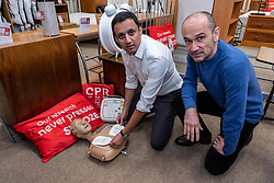 Pictured: <br /> Labour MSP Anas Sarwar set out plans for a Member's Bill calling for the devices to be registered in order to improve<br /> survival rates following cardiac arrest. Mr Sarwar was joined by cardiac arrest survivor Miro Dragic<br /> <br /> Ger Harley | EEm Date