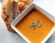 Tomato basil soup with a club sandwich.