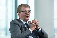 12 MAY 2016, BERLIN/GERMANY:<br /> Ronald Pofalla, Mitglied des Vorstandes der Deutschen Bahn AG und Bundesminister a.D., waehrend einem Interview, Bahn Tower<br /> IMAGE: 20160512-01-012