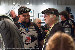Willie G Davidson with custom builder Kevin Taco Rodriguez at the Old Iron - Young Blood exhibition media and industry reception in the Motorcycles as Art gallery at the Buffalo Chip during the annual Sturgis Black Hills Motorcycle Rally. Sturgis, SD. USA. Sunday August 6, 2017. Photography ©2017 Michael Lichter.