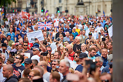 © Licensed to London News Pictures. 09/06/2018. LONDON, UK.  Protesters outside the gates of Downing Street during a rally calling for the release of Tommy Robinson (aka Stephen Yaxley-Lennon) who was recently jailed for 13 months for contempt of court.   Photo credit: Cliff Hide/LNP