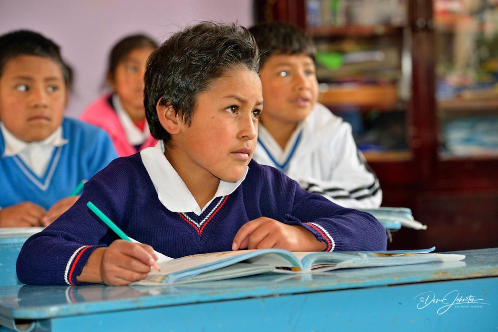 Primary schoolchildren in class at the Nono school, Nono, Pichincha, Ecuador