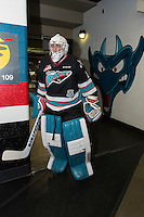 KELOWNA, CANADA - DECEMBER 2: Jackson Whistle #1 of Kelowna Rockets exits the ice after warm up against the Kootenay Ice on December 2, 2015 at Prospera Place in Kelowna, British Columbia, Canada.  (Photo by Marissa Baecker/Shoot the Breeze)  *** Local Caption *** Jackson Whistle;