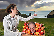 Cider producers Daniel and Geraldine Emerson use the pick of the crop for their Specialist Low Alcohol 1.5% Tobairin Cider at Stonewell Brewery outside Kinsale in Co Cork for the launch of the  Blas na hEireann, Irish Food Awards.<br /> Picture by Don MacMonagle -macmonagle.com