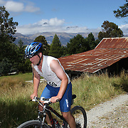 Andre Klein in action in the Paradise Triathlon and Duathlon series, Paradise, Glenorchy, South Island, New Zealand. 18th February 2012. Photo Tim Clayton