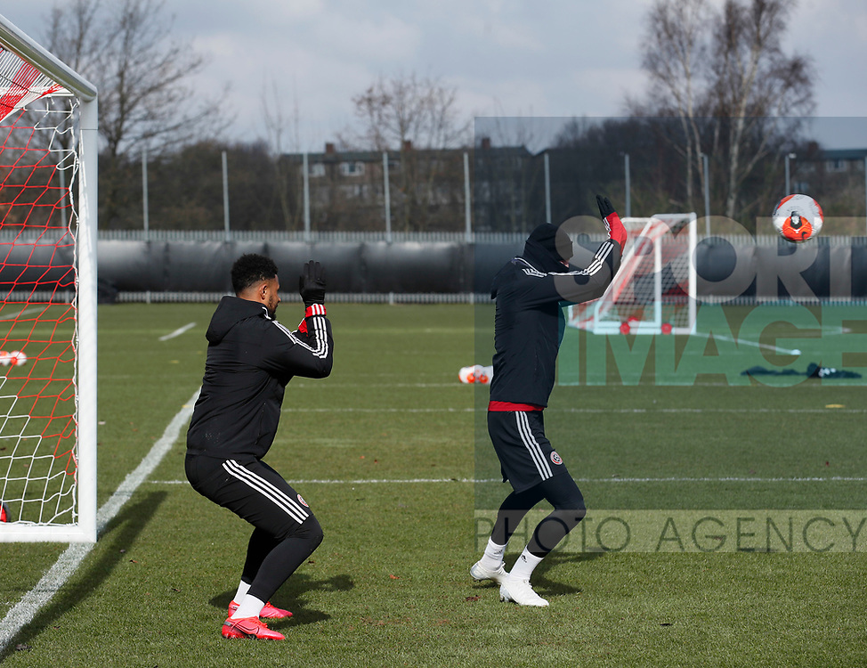 David McGoldrick of Sheffield Utd & Oli McBurnie of Sheffield Utd during a training session at the Steelphalt Academy, Sheffield. Picture date: 5th March 2020. Picture credit should read: Simon Bellis/Sportimage