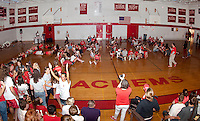 """LHS Freshman class has two minutes to spell out the word """"PRIDE"""" with human letters during Friday afternoon's Homecoming Pep Rally.  (Karen Bobotas/for the Laconia Daily Sun)"""