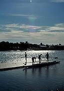 Eton. Great Britain.  General Views, GV's. Crew Boating for training session.  2011 FISA Junior  World Rowing Championships. Dorney Lake, Nr Windsor. Monday, 01/08/2011 [Mandatory credit: Peter Spurrier Intersport Images] Silhouette, Sunset, Sunrise.