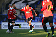 Walsall's Milan Lalkovic celebrates after he scores his sides 1st goal against Tranmere Rovers. Skybet football league 1 match, Tranmere Rovers v Walsall at Prenton Park in Birkenhead, England on Saturday 11th Jan 2014.<br /> pic by Chris Stading, Andrew Orchard sports photography.