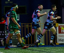 Owen Lane of Cardiff Blues celebrates scoring his sides first try<br /> <br /> Photographer Simon King/Replay Images<br /> <br /> Guinness PRO14 Round 14 - Cardiff Blues v Connacht - Saturday 26th January 2019 - Cardiff Arms Park - Cardiff<br /> <br /> World Copyright © Replay Images . All rights reserved. info@replayimages.co.uk - http://replayimages.co.uk