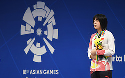 JAKARTA, Aug. 24, 2018  Bronze medalist Wu Qingfeng of China attends the awarding ceremony after women's 50m freestyle final of swimming at the 18th Asian Games in Jakarta, Indonesia, Aug. 24, 2018. (Credit Image: © Pan Yulong/Xinhua via ZUMA Wire)