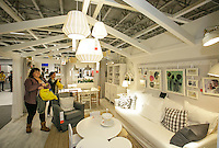 Looking over a living room at the grand opening of the new Ikea in Burbank. The new Ikea store comes in at 456,000 sf, compared to the old one at 242,000 sf. And 1,700 parking places.  Feb. 8, 2017  Photo by David Sprague