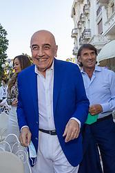 HELGA COSTA ADRIANO GALLIANI E GIOVANNI CARNEVALI  <br /> INAUGURAZIONE CALCIOMERCATO 2021 GRAND HOTEL RIMINI