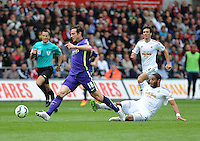Manchester City's Frank Lampard battles with Swansea City's Ashley Williams<br /> <br /> Photographer Ashley Crowden/CameraSport<br /> <br /> Football - Barclays Premiership - Swansea City v Manchester City - Sunday 17th May 2015 - Liberty Stadium - Swansea<br /> <br /> © CameraSport - 43 Linden Ave. Countesthorpe. Leicester. England. LE8 5PG - Tel: +44 (0) 116 277 4147 - admin@camerasport.com - www.camerasport.com