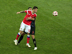 July 7, 2018 - Sochi, Russia - July 07, 2018, Sochi, FIFA World Cup 2018, the playoff round. 1/4 finals of the World Cup. Football match Russia - Croatia at the stadium Fisht. Player of the national team Fedor Smolov  (Credit Image: © Russian Look via ZUMA Wire)